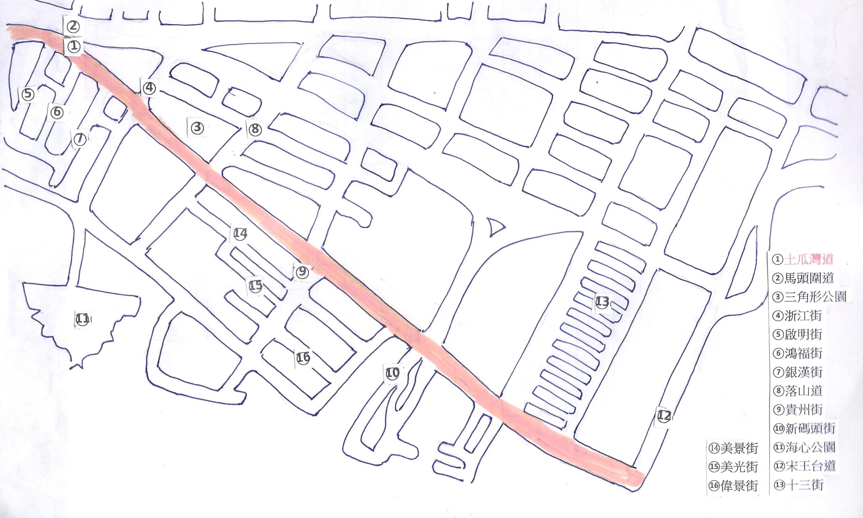 土瓜灣道街道圖